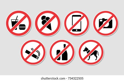 forbidden sign vector black, red and white set