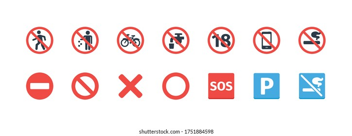 Forbidden Signs vector icons set. Prohibition symbols collection. Not allowed, No Smoking, Don't Litter, Don't Walking, SOS, Not Potable Water, No Entry, Not Mobile Phone Vector