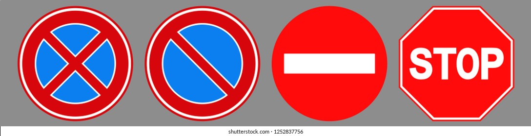 Forbidden stop roadsign icon set designed with simple style. Flat forbidden stop roadsign symbol collection. Control and rules pictograms are isolated on a gray background.