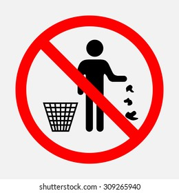 It is forbidden to throw garbage, we can not throw garbage, no debris, editable vector image