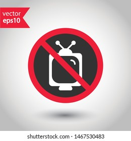 Forbidden TV icon. No old TV vector sign. Prohibited video watching icon. Warning, caution, attention, restriction. No television icon. EPS 10 flat symbol.