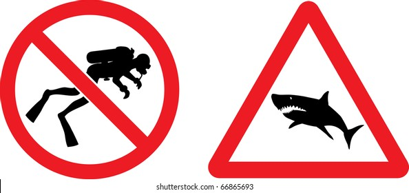 """Forbidding and Prevention Vector Signs """"No Diving"""",  """"Shark"""""""