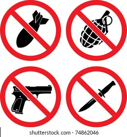 "Forbidding  Vector Signs ""No weapons"" with bomb, grenade, pistol and knife"