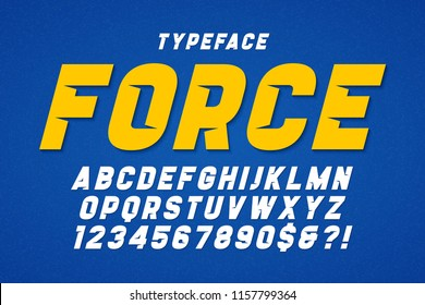 Force heavy display font design, alphabet, typeface, letters and numbers, typography. Swatches color control.