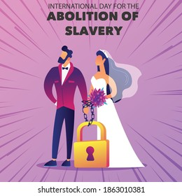 forced marriage concept vector for international day of the abolition of slavery.