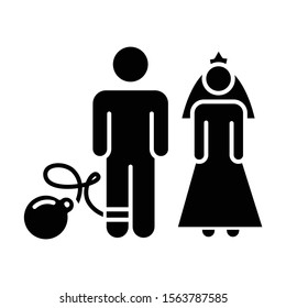 Forced marriage glyph icon. Woman and man, groom and bride. Family burden. Forcible wedlock. Compulsory marriage. Female, male rights. Silhouette symbol. Negative space. Vector isolated illustration