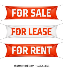 Fore Sale, For Lease and For Rent banners. Vector.
