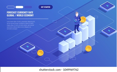 Forecast currency rate, businessman stay on graphic chart, business diagram, investment in modern technology, money management accounting isometric vector technology