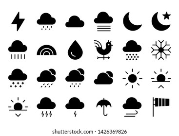 forecast glyph icon symbol set