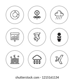 Forecast icon set. collection of 9 outline forecast icons with graph, hail, growth, night, rain, xing icons. editable icons.