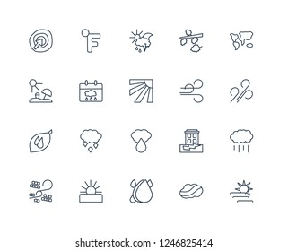 Forecast, Moonrise, Rainfall, Daytime, Sleet, Summer, Breeze, Starry night, Downpour, Sand storms, Mist outline vector icons from 20 set