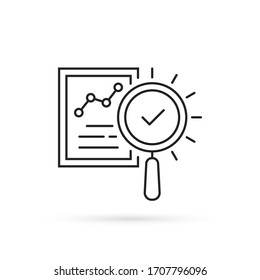 forecasting icon like legal compliance. flat thin stroke trend analitics or assesment logotype graphic design isolated on white. concept of search focus in statement and examine or performance success