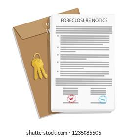 Foreclosure notice, envelope and keys. Vector illustration.