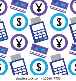 foreign exchange dataphone credit card coins pattern