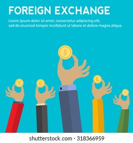 Foreign exchange vector concept with hands holding coins with symbols for yen, pound sterling, euro and dollar currency