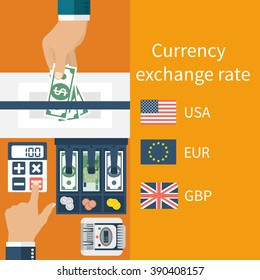 Foreign exchange. Vector illustration, flat design style. Money in hand.
