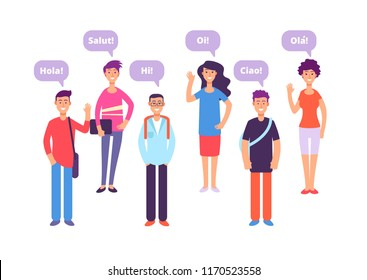 Foreign language concept. Students greeting in english french german japanese. Language class and foreign languages vector background. Education translation phrase, student say hello illustration