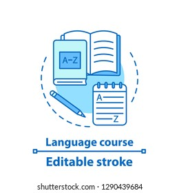 Foreign language courses concept icon. Grammar learning. Idea thin line illustration. Language learning materials. Vector isolated outline drawing. Editable stroke