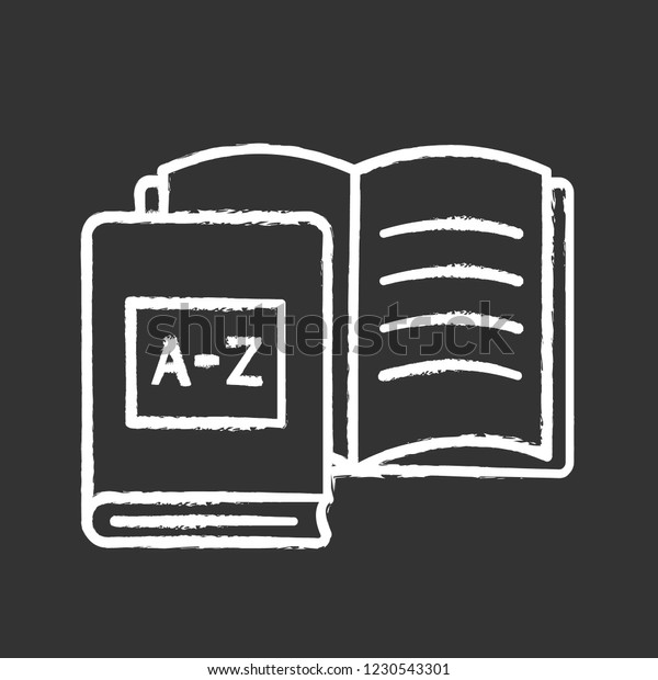 Foreign Language Learning Books Chalk Icon Stock Vector