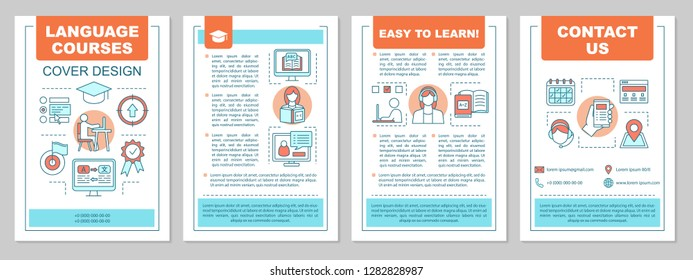 Foreign language learning classes brochure template layout. Flyer, booklet, leaflet print design. Language school. Speaking club. Vector page layout for magazines, annual reports, advertising posters