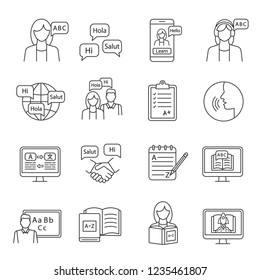 Foreign language learning linear icons set. Speaking club, course, school. Basic language skills. Thin line contour symbols. Isolated vector outline illustrations. Editable stroke