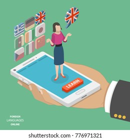 Foreign language online learning isometric vector. Smartphone on the mans palm with a teacher on it. Behind the teacher are several icons with languages to learn. English is active at the moment.