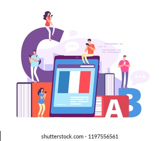 Foreign language online learning. People with smartphones studying french with online teacher. Education vector concept. Illustration of online training and teaching