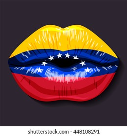 Foreign language school concept. Lips, open mouth, flag of Venezuela (Bolivarian Republic of Venezuela). Sovereign states in South America.