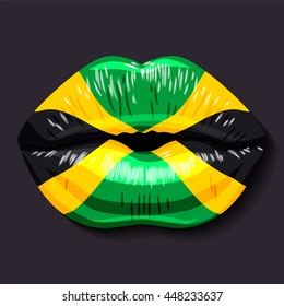 Foreign language school concept. Lips, open mouth, flag of Jamaica. Sovereign state in North America.