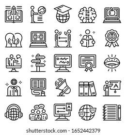 Foreign language teacher icons set. Outline set of foreign language teacher vector icons for web design isolated on white background