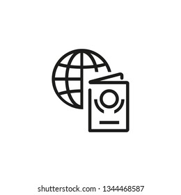 Foreign passport line icon. Globe, visa, citizenship. Tourism concept. Vector illustration can be used for topics like travel, vacation, departure, custom