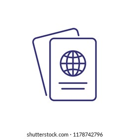 Foreign passport line icon. Visa, document, arrival. Customs house concept. Vector illustration can be used for topics like citizenship, immigration, travelling
