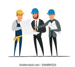 Foreman and architects flat vector illustration. Contractors showing site engineer building plans and drafts cartoon characters on white background. Builder, inspector holding blueprint clipart