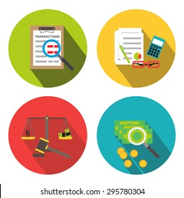 Forensic audit and financial investigation icons isolated