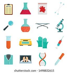 Forensic laboratory icons set. Flat set of forensic laboratory vector icons for web design
