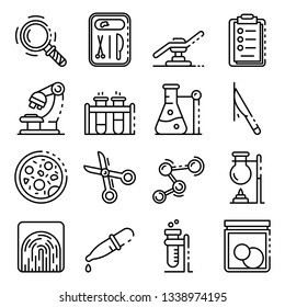 Forensic laboratory icons set. Outline set of forensic laboratory vector icons for web design isolated on white background
