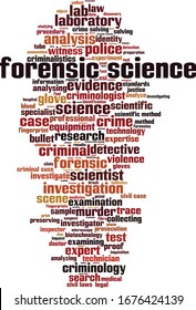 Forensic science word cloud concept. Collage made of words about forensic science. Vector illustration