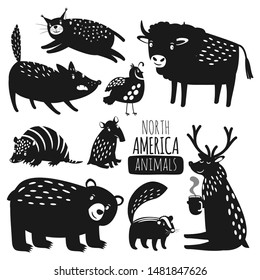 Forest american animals silhouettes. Cartoon animal silhoitte set, reindeer and wild grizzly bear, lynx and armadillo vector images isolated on white background