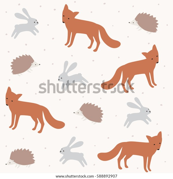 Forest animal seamless vector pattern. Cute background with fox, rabbit and hedgehog.