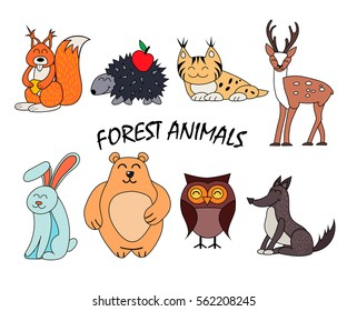 Forest animal set isolated on white