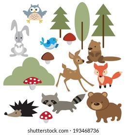 Forest animal  vector illustration
