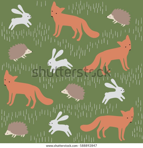 Forest animal vector pattern. Cute background with fox, rabbit and hedgehog.