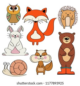 Forest animals collection, fox, bunny, bear, snail, owl, squirrel, hedgehog,  isolated on white background