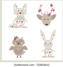 Forest animals and flowers. Spring collection. Vector illustration.