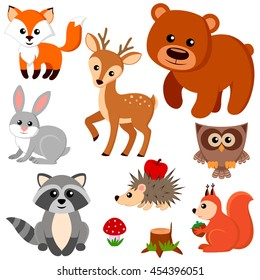 Forest animals. Fox, bear, raccon, hare, deer, owl, hedgehog, squirrel, agaric and tree stump