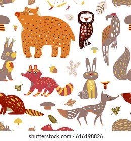 Forest animals had drawn seamless pattern. Vector illustration for cloth, textile design. In cute trendy style. Perfect for children apparel or wrapping paper.