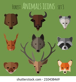Forest animals icons with flat design. Vector illustration