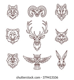Forest animals icons in trendy linear style. Vector illustration.