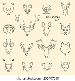 Forest animals line icons set. Vector Illustration