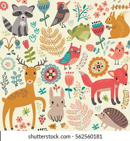 Forest animals and plants. Seamless pattern